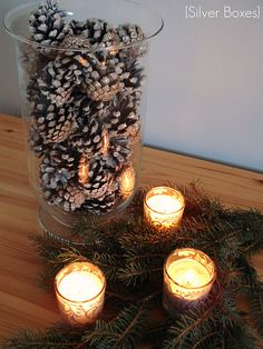 Glittered Pinecones- @Stephanie Close Close Averitt we should make these for decoration! Different colors for fall and winter  cheap!