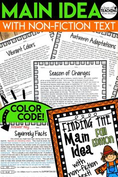 Get 20 different {fall-themed} non-fiction reading passages for students to use while they practice finding the main idea and supporting details. These high interest and engaging non-fiction topics make learning about main idea fun and interesting for students!  The main idea may or may not be found in the first sentence. Some passages include the main idea in the second or last sentence of the paragraph.  RI.4.2