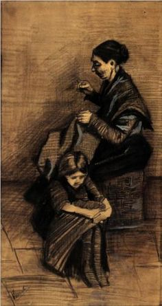 Vincent van Gogh (Dutch: 1853 – 1890) | Woman Sewing, with a Girl (1883)