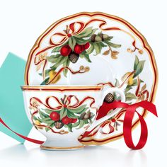 Tiffany Holiday™ cup and saucer in porcelain. #TiffanyPinterest