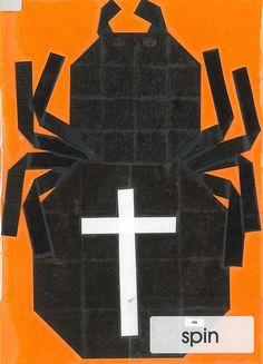 vouwwerkje  16 vierkantjes spin Paper, Spiders