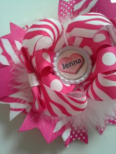 Boutique stacked hair bow for girls pink by TheJMarieBoutique