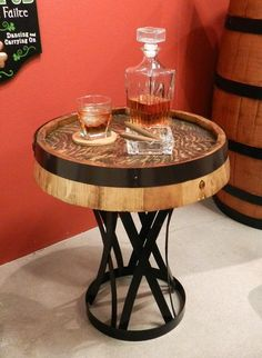 Beautiful hand crafted Quarter Barrel Table with wrought iron stand. Table top size is Beer Table, Barrel Coffee Table, Coffee And End Tables, Nautical Home Furniture, Unique Furniture, Furniture Ideas, Tire Furniture, Barrel Furniture, Whiskey Room