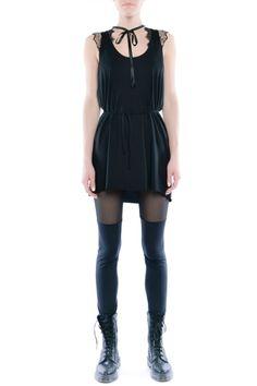 Leggisny - dwie czernie - tiul i jersey Jersey, Rompers, Fitness, Dresses, Fashion, Tunic, Vestidos, Moda, Fashion Styles