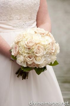 White Bridal Bouquet with hydrangea and roses by the Enchanted Florist, photo by Divine Images