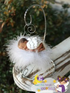 Baby Memorial,Custom skin tone and Hair Angel Baby Ornament  with Display stand. Miscarriage, Pregnancy loss,keepsake, remembrance gift.