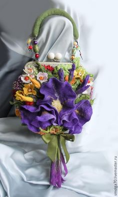 """Купить арт-сумочка """"Май-баловник"""":-)) - сиреневый, ирис, весенний букет, фиолетовый"""