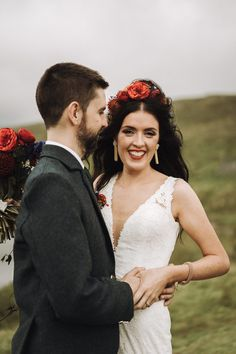 A gorgeous real wedding in Rosleague Manor. Be inspired by Margaret and David's cool and colourful house party wedding in Connemara. Connemara, House Party, House Colors, Real Weddings, Ireland, David, Couple Photos, Couples, Wedding Dresses