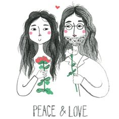 John & Yoko Illustration - Babasouk – John & Yoko Illustration. How cute are John & Yoko! This a special artwork made exclusively for Baba Souk by London artist Viktorija. They remind us of what really matters, PEACE & LOVE. I'm going to frame these friends for my bedroom! #illustration #john&yoko #print