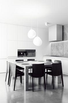 BHI by Rzemiosło Architektoniczne, via Behance Minimalist Kitchen, Minimalist Interior, Minimalist Style, Minimal Decor, Dining Room Inspiration, Interiores Design, Decoration, Kitchen Interior, Kitchen Dining