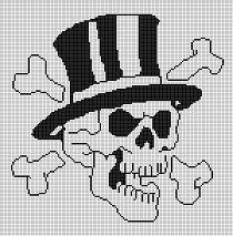 skull and cross bones motif - Crochet Me Crochet Skull Patterns, Graph Crochet, Filet Crochet Charts, Crochet Cross, Bead Loom Patterns, Free Crochet, Cross Stitch Letters, Beaded Cross Stitch, Cross Stitch Kits