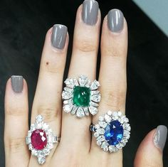 M and B Diamonds. Our Sunday stack starts with a trio of highest quality Ruby, Emerald and Sapphire! Not only our diamonds but our color gemstones are also from the highest grade.... Find your dream stone and design at # by @roi_sheinfeld