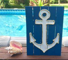 Handmade Anchor with Rope Beach Pallet Art by BeachByDesignCo