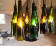 Green bottle lighting - Interior design work by Oliver Heath Design for Tid for Hjem in Norway Photograph by Jan Inge Mevold Skogheim Interior Design Work, Bottle Lights, Champagne, Wine, Dining, Lighting, House, Lag, Buenas Ideas