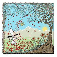 Snoopy and Woodstock Near Tree Surrounded By Hearts Snoopy Love, Snoopy And Woodstock, Snoopy Happy Dance, Peanuts Cartoon, Peanuts Snoopy, Steve Thomas, Snoopy Quotes, Charlie Brown And Snoopy, Cute Cartoon