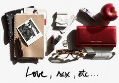 Dating column, wallet, rings, glasses, lipstick,  pen, journal, picture / Garance Doré