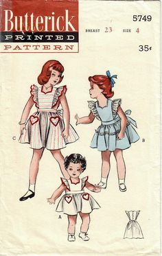 1950s Butterick 5749 Vintage Sewing Pattern Girls Full Skirt Dress, Party Dress, Sundress, Pinafore Size 4