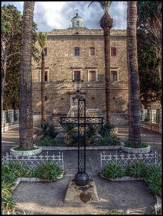 The entrance to the Carmelite Stella Maris monastery, in Haifa, Israel.  The monastery was built during the 19th century, right above a grotto where prophet Elijah used to live, according to tradition.