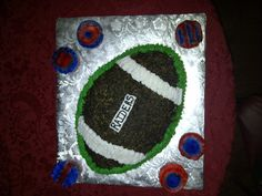 Oakland Raiders Football Cake out of Buttercream icing.