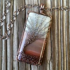 """Extra Large Perfect Day Landscape Polychrome Jasper Antique Copper Wire Wrapped Bare Winter Tree of Life Handcrafted by Ann White.  This pendant is 3 inches from the top of the bail and 1 1/4"""" wide."""