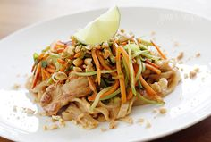 Asian Peanut Noodles with Chicken - Lightened Up #light #asian #chicken #peanut #noodles #spicy #sweet #salty
