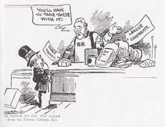 This is a cartoon of the Treaty of Versailles. It shows that the United Kingdom, France, and The United States are telling Germany that they have to deal with the treaty, and that they have no say on what goes on.