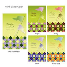 Golf Flags Personalized Wine Label