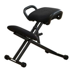 For healthier spinal alignment while you work, the Harold Kneeling Chair is designed with a forward slanting seat and supportive knee cushion to properly redistribute your body weight, relieve lumbar pressure, and even help you breathe easier. Its sturdy side handles make for stable entry and exit from the chair, and the Harold is height adjustable from 22-28 to fit your legs. Vertical movement wheels prevents sliding. Available in Black. Pair the Harold with the Malcolm Noteb...