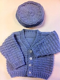 Here is a free pattern for a baby cardigan and hat, using worsted weight yarn and size 9 needles. The cardigan is worked from the bottom up, separated for fronts and back, then seamed at shoulders with sleeves picked up and worked in the round.