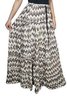 Mogul Women Medieval Skirts Ethnic Printed A-Line Flared Boho Long Maxi Skirts