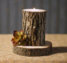 Rustic Log bougie porte  décor rustique  bois par GFTWoodcraft