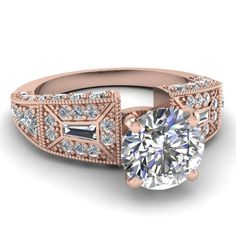 rose-gold-round-white-diamond-engagement-wedding-ring-in-bezel-micro pave-set-FDENR8601ROR-NL-RG