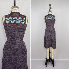 vintage 1970s dress / knit sweater fitted by LivingThreadsVintage, $96.00
