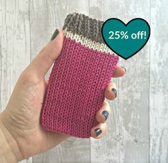 Pink Knit iPhone case, iPhone Case 5s, iphone 5c case, iPod touch 5 case, iPod Touch 6th Generation Case, Knitted Phone Sleeve - SALE by SnugCreations on Etsy