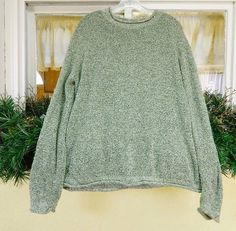 Croft Barrow Varigated Boucle Knit Pullover Sweater 1X Sage Black #CroftBarrow #Crewneck
