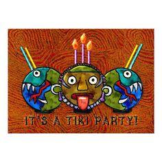 Shop Tiki Party Invitation) Invitation created by IconDoIt. Invitation Paper, Custom Invitations, Funny Birthday Invitations, Party Invitations, Kids Beach Party, Cocktail Party Invitation, Hawaiian Tiki, Tiki Party, Quinceanera Invitations