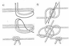 морские узлы - скорняжный. а) первый способ вязки, б) второй