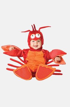Free shipping and returns on InCharacter Costumes 'Lil' Lobster' Costume (Baby) at Nordstrom.com. Fresh from the sea, your sweet lil' lobster will be the talk of the Halloween party in this bright bodysuit that includes claws, a hood with antennae and booties with skid-resistant bottoms.