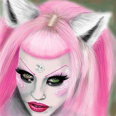 Amazing Art! Kiss Makeup, Hair Makeup, Adora Batbrat, Pink Hair, Makeup Inspiration, Amazing Art, Halloween Face Makeup, Lust, Model