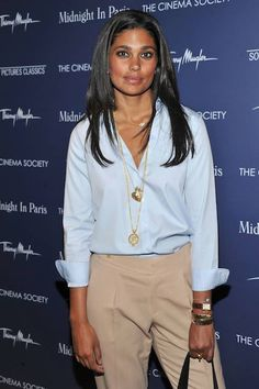 Rachel Roy in masculine #fashion (shirt & pants) with feminine #jewellery  (stacked necklaces)