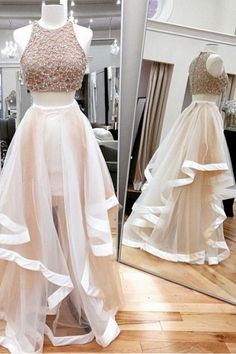 Two Piece Prom Dresses#TwoPiecePromDresses Sexy Prom Dress#SexyPromDress Sleeveless Prom Dress#SleevelessPromDress Custom Prom Dresses#CustomPromDresses