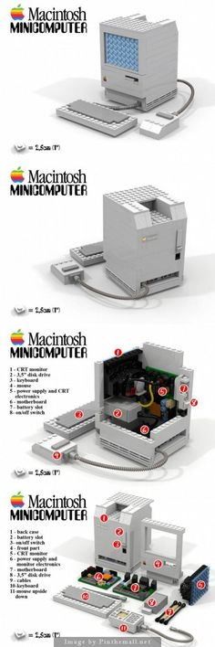 LEGO Apple Macintosh, great idea for Lego lovers yet when the first Macintosh came out it was a gorgeous computer then and still is one now! Even in Lego form. Check out other technologies in Lego form by clicking the image Alter Computer, Computer Set, Lego Design, Legos, Lego Boards, Amazing Lego Creations, Lego Models, Custom Lego, Lego Moc