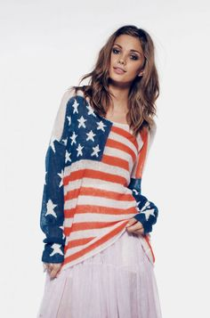 Wildfox Born On The 4th Of July Sweater Blue Lagoon | GarmentQuarter