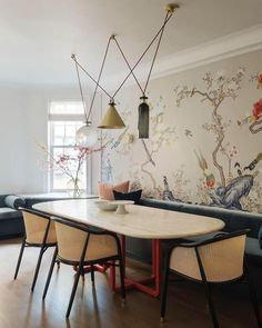 Elegant Mid Century Dining Room Design Ideas - here are many aspects of home decor that must be considered, one of them that takes quite a bit of consideration are dining chairs. Dining Room Table Centerpieces, Dining Room Wall Decor, Dining Room Lighting, Dining Room Sets, Dining Room Design, Room Decor, Dining Chairs, Dining Room Wallpaper, Centerpiece Ideas