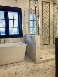 Calacatta Gold Marble WaterJet Mosaic Pattern.  Master bathroom remodel ideas.  Luxury Bathroom tile flooring.  Design a beautiful powder room or guest bathroom with TileBuys.  Affordable remodeling on a budget.  Personalized pricing and service.  #tile #masterbathroom #waterjet #mosaic #marble #tiles #bathroom #interiordesign #luxuryinteriordesign #whitemarble #decor #homeimprovement #flooring #design #home #remodeling #renovation #shower #floorpattern