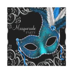 Teal Blue Masquerade Party Admission Tickets Large Business Cards (Pack Of Invitations Quinceanera, Masquerade Party Invitations, Masquerade Theme, Quinceanera Party, Masquerade Ball, Birthday Party Invitations, Masquerade Wedding, Masquerade Cakes, Halloween Masquerade