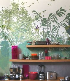 Panoramic #wallpaper JARDIN DES PLANTES by CONCEPTUWALL #kitchen