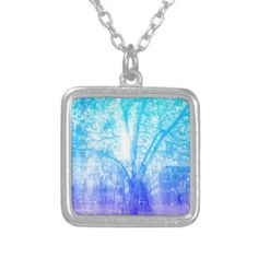 Vernal Tree Square Pendant Necklace
