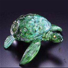 Sea Turtle Glass Sculpture by Michael Hopko - Soul Glass