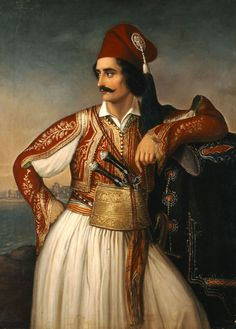 Theodoros Vryzakis Portrait of Anagnostopoulos / National Gallery-Athens, Greece / Greek Traditional Dress, Traditional Art, Traditional Outfits, Greek History, Art History, Ancient Greek Costumes, Rembrandt Portrait, Albanian Culture, Greek Warrior